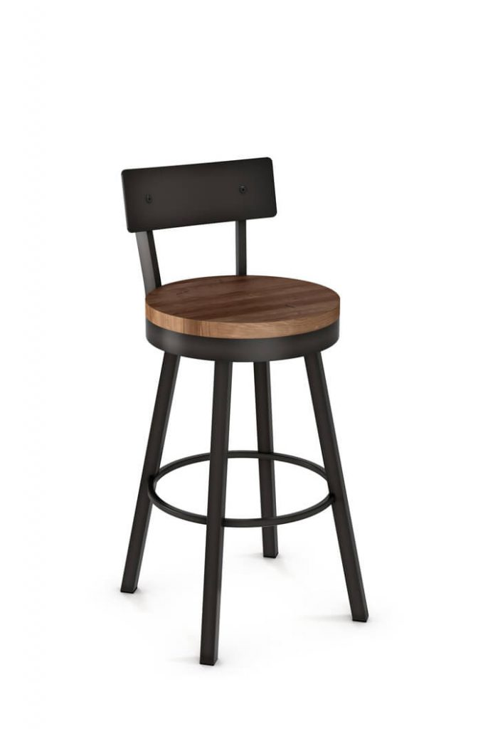 Amisco Lauren Swivel Stool with Wood Seat and Metal Backrest