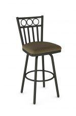 Amisco's Momentum Swivel Barstool with 3 Rings and Vertical Slats on Back, as well as Seat Cushion