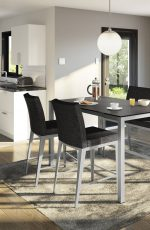 Amisco's Pablo Upholstered Parsons Bar Stool in Modern, Open-Concept Black & White Kitchen