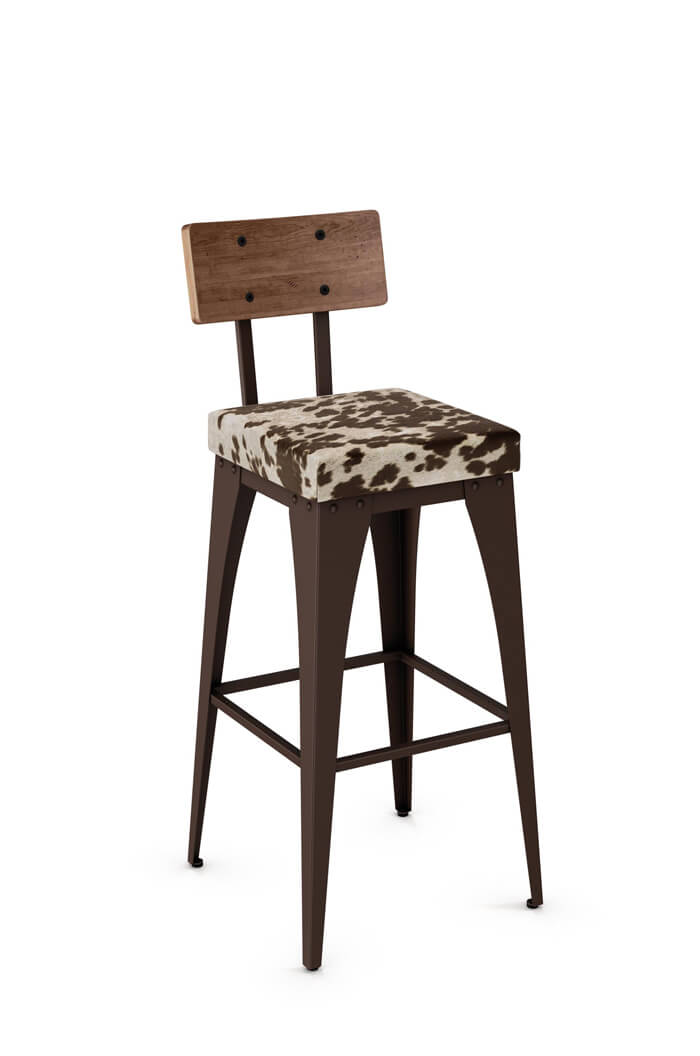 Amisco Upright Tabouret-Style Stool with Seat Cushion and Wood Backrest