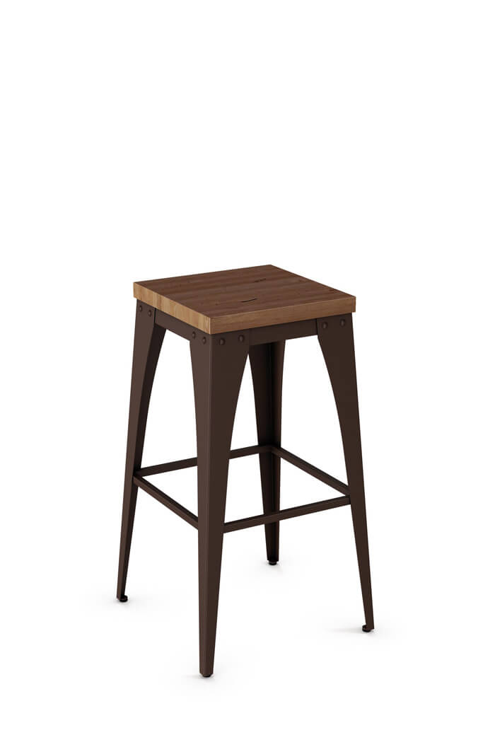 Amisco Upright Backless Tabouret Style Stool with Wood Seat