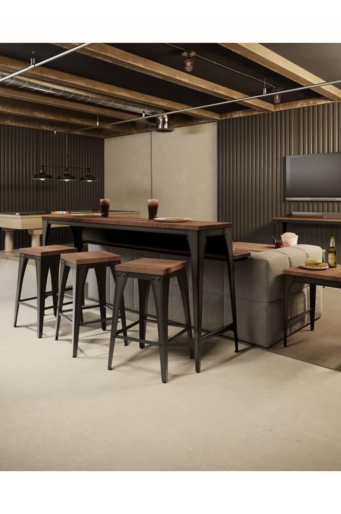 Amisco Upright Tabouret Modern Stool W Wood Seat Free