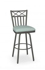 Amisco's Wellington Swivel Bar Stool with Charcoal Gray Metal Finish with Seafoam Green Seat Cushion