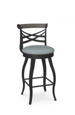 Amisco's Whisky Traditional Metal Swivel Bar Stool with Cross Back Design