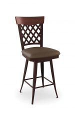 Amisco's Wicker Swivel Brown Bar Stool with Lattice Back, Wood Back, and Seat Cushion