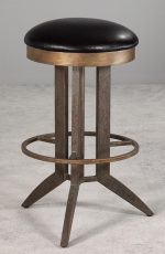 Bolton Backless Swivel Bar Stool by Wesley Allen shown in Textured Copper Moss metal finish and Cantina Black bonded leather