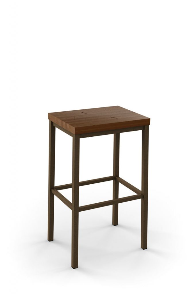 Amisco Bradley Non-Swivel Stool with Wood Seat