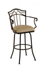 Callee Berkeley Swivel Bar Stool with Arms and Tall Back
