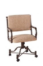 Callee's Burnet Tilt Swivel Dining Chair with Arms, Upholstered Seat and Back, and Casters Wheels on Feet