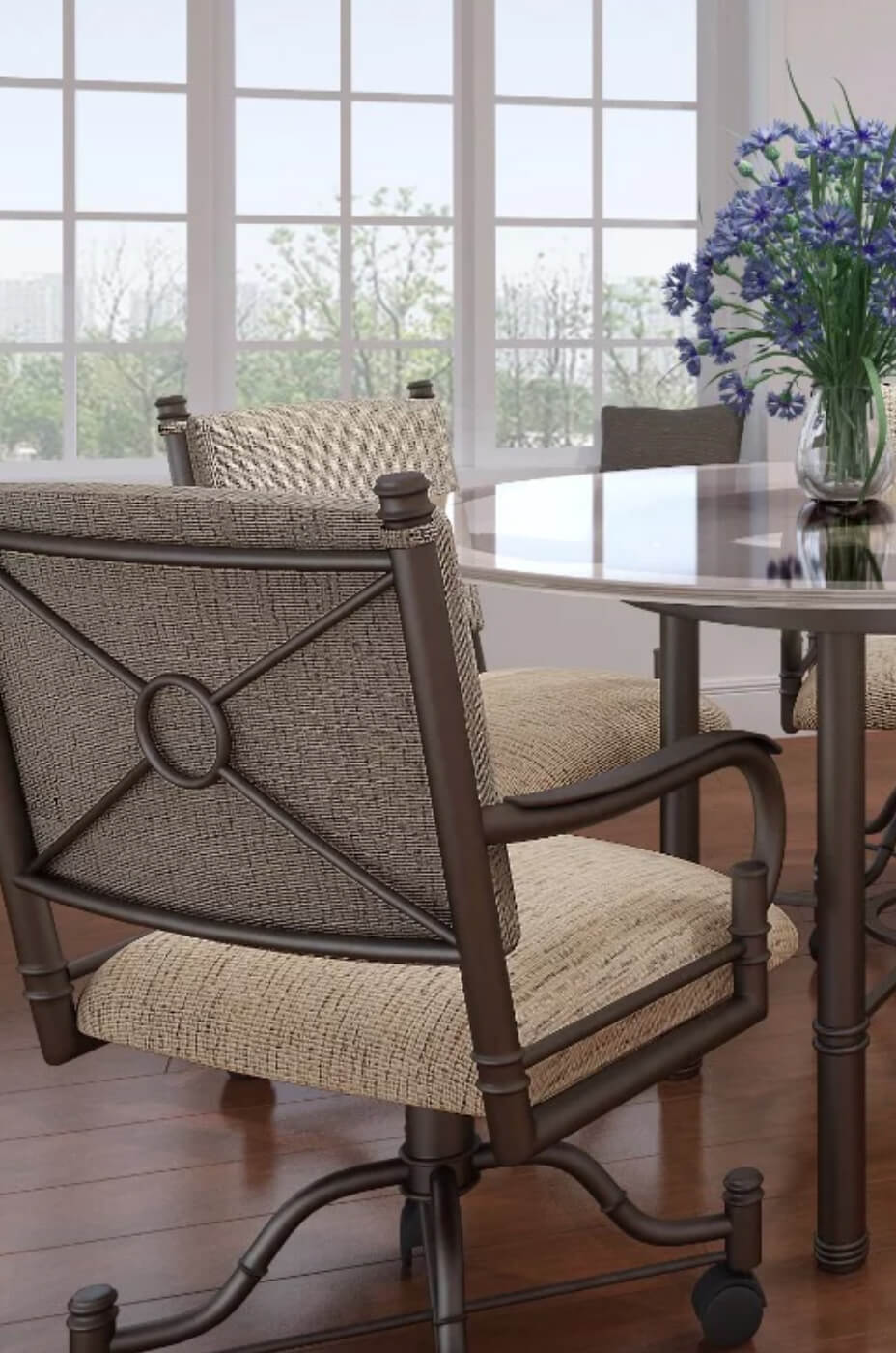 Callee's Burnet Tilt Swivel Dining Chair with Arms and Rolling Casters