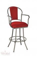 Callee's Charleston Swivel Barstool with Arms in Red Fabric and Silver Metal