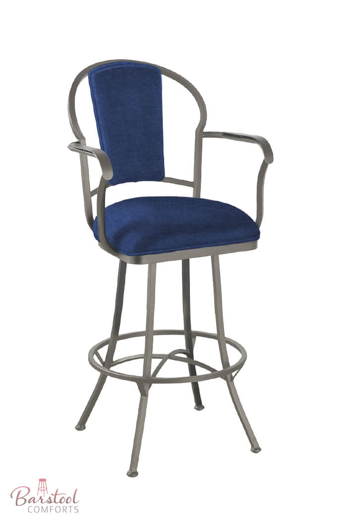 Callee's Charleston Swivel Stool with Arms in Blue Fabric and Nickel finish