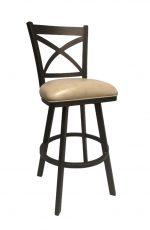 Callee's Edison Swivel Bar Stool with Cross Back Design in Bronze Metal Finish and Tan Seat Cushion Vinyl
