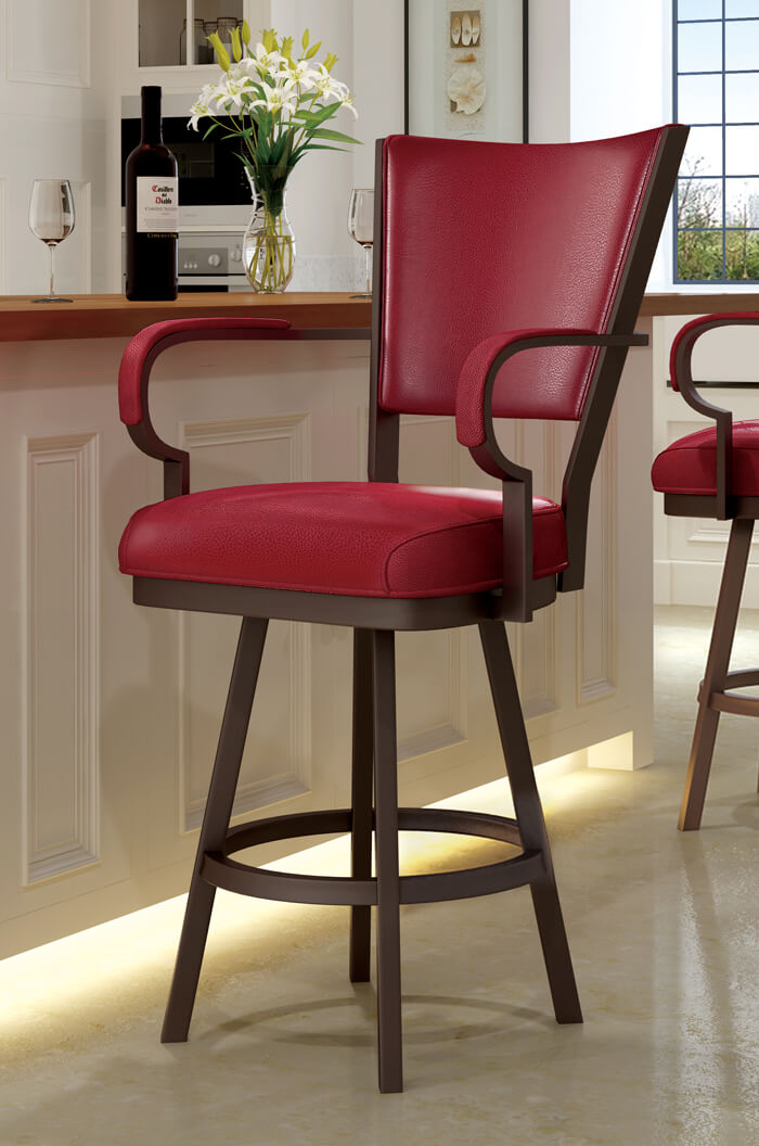 Callee Laguna Swivel Stool with Arms and Red Vinyl