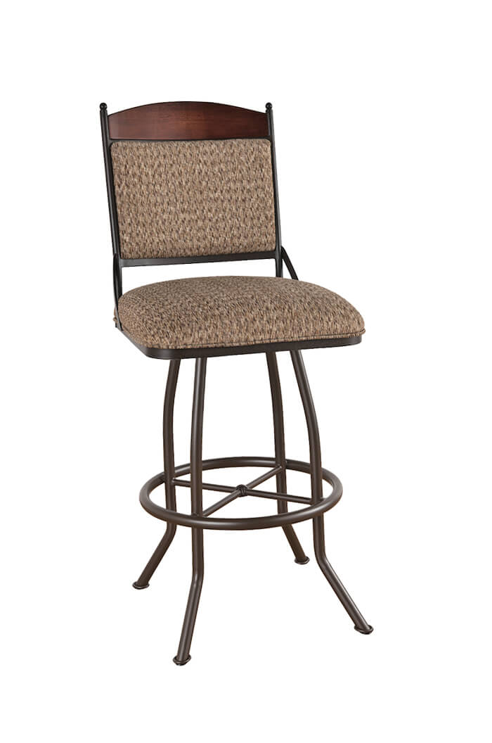 Callee Madena Swivel Stool with Upholstered Back and Wood Trim