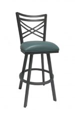 Callee's Rachel Swivel Bar Stool with Cross Back, Black Metal Frame, and Seafoam Green Seat Cushion
