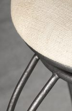 Eugene Backless Swivel Stool in Silver Bisque metal finish