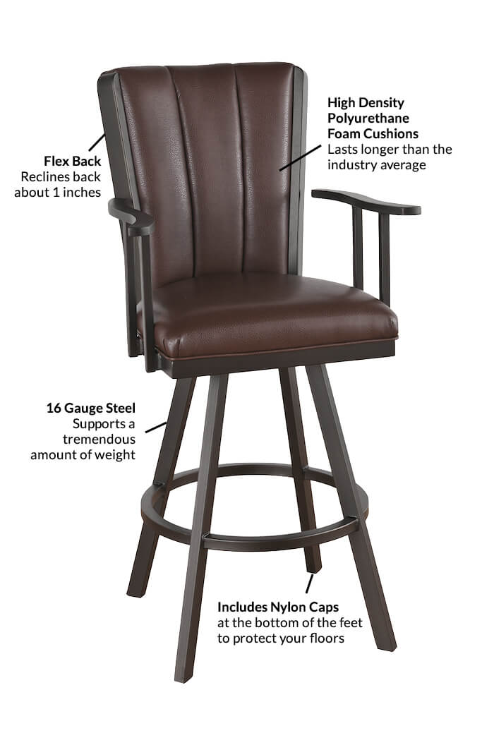 Bar Stool With Arms Features Of The Bogart Flex Back Swivel