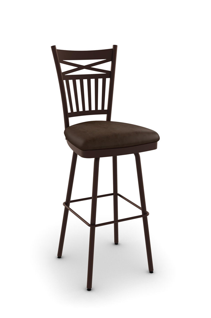 Amisco Garden Swivel Stool with Brown Metal and Brown Seat Cushion
