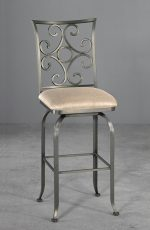 Wesley Allen's Glen Swivel Stool with Elegant Scroll Back Design