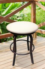 Lisa Furniture's Gwen Backless Outdoor Swivel Stool on a Patio