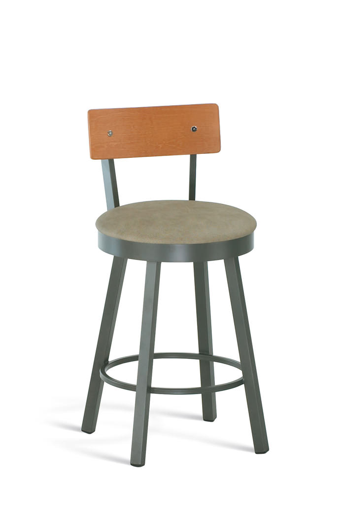 Amisco Lauren Swivel Stool with Wood Backrest and Cushioned Seat
