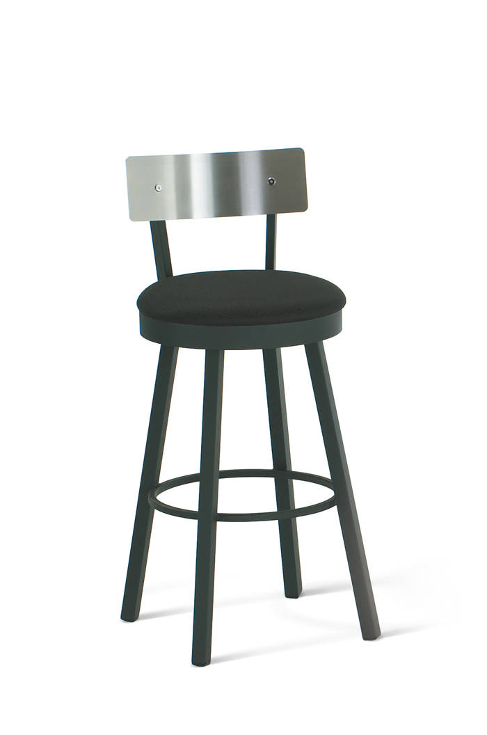 Amisco Lauren Swivel Stool with Stainless Steel Backrest