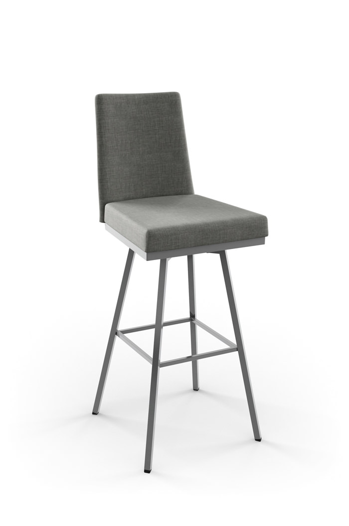 Amisco Linea Swivel Stool with Upholstered Seat and Backrest