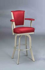 Lisa Furniture's #2010 Upholstered Swivel Bar Stool with Arms in Red Cushion