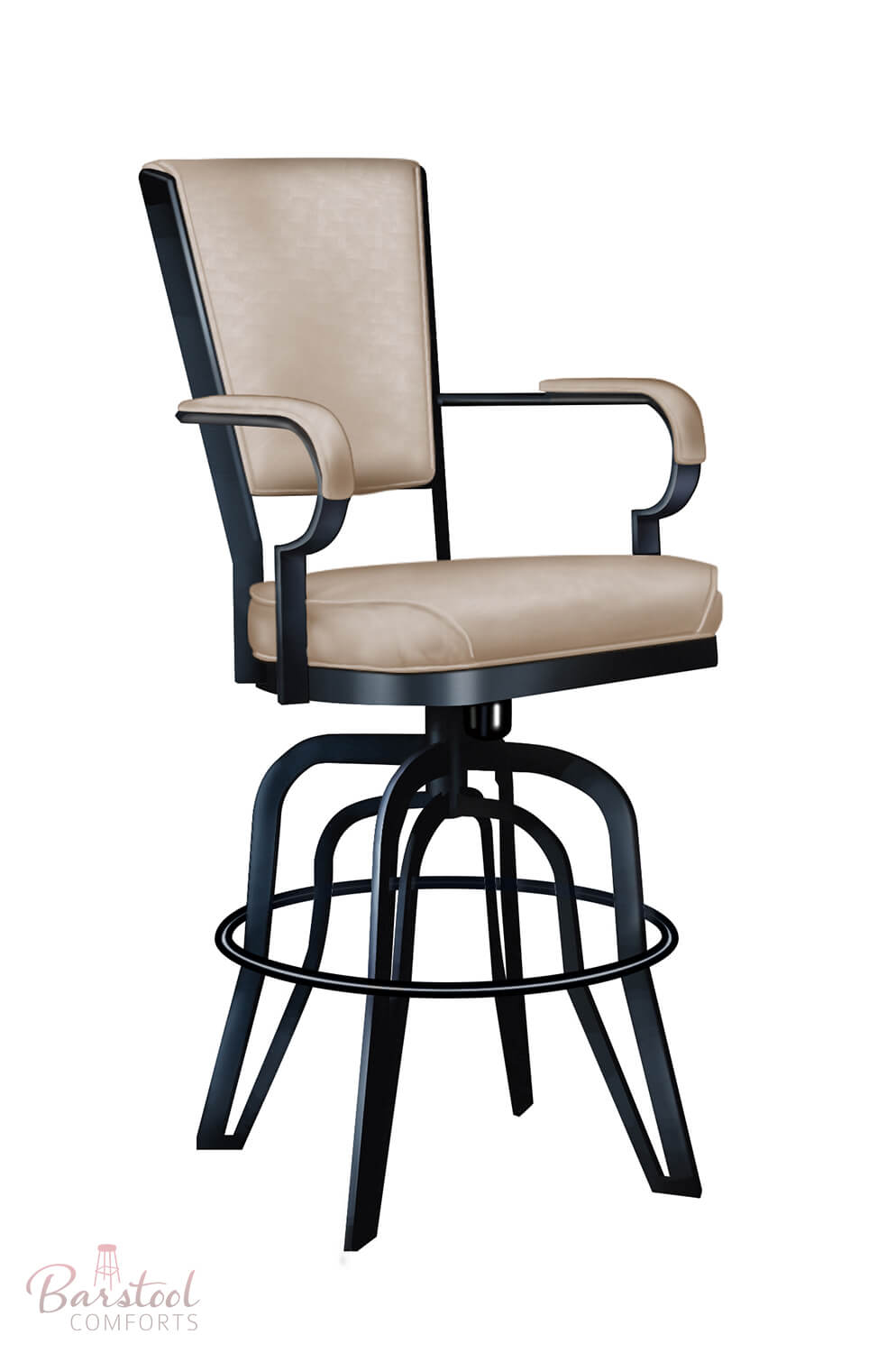 Lisa Furniture's #2545 Tilt Swivel Stool with Arms in Black Finish and Brown Fabric