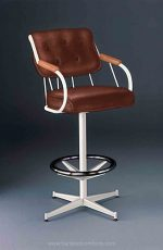 Lisa Furniture's #377 Metal Upholstered Swivel Bar Stool with Wood Arms, Button-Tufted Back, Chrome Footring, and White Metal Frame