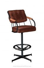 Lisa Furniture's #377 Upholstered Swivel Bar Stool with Pedestal Base with Arms and Black Metal Frame Finish