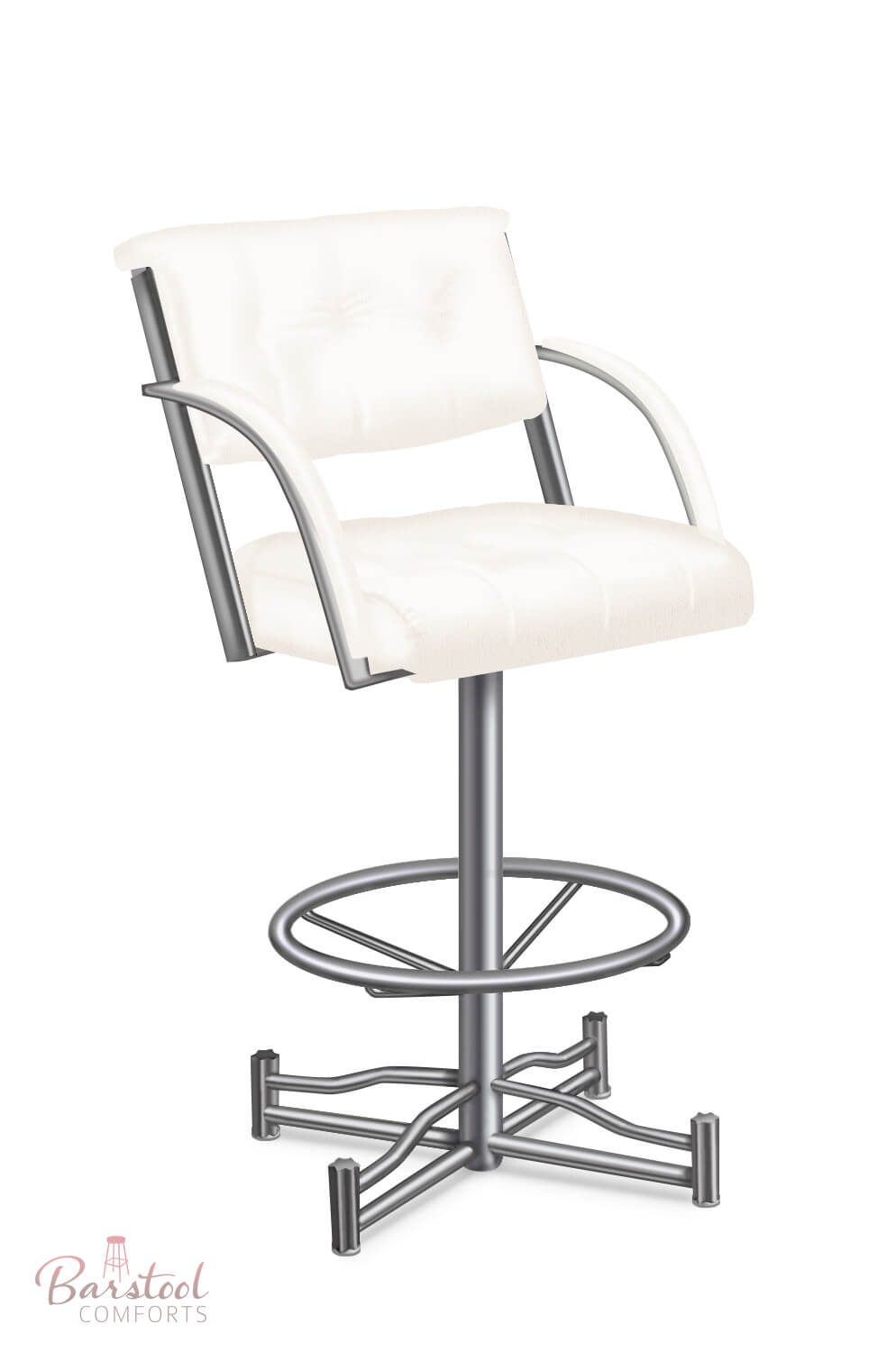 Laze Modern Tufted Upholstered Swivel Stool W Back Arms