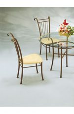 Classic Vertical Slat Back Metal Dining Chair with Seat Cushion by Lisa Furniture