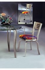 Slat Back Swivel Dining Chair with Metal Frame and Seat Cushion #2033