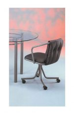 """Quirky Mindy"" Upholstered Dining Chair with Arms for Eclectic Kitchens"