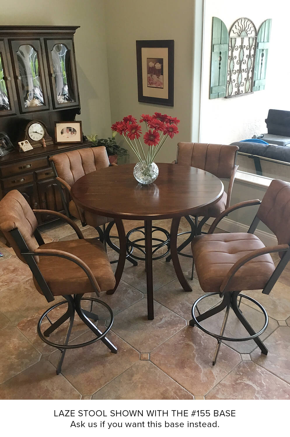 Lisa furnitures laze brown swivel barstools with arms around pub table in traditional dining room