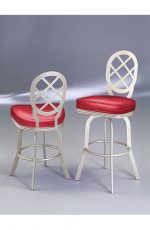 Lisa Furniture's Orion #2028 Swivel Bar Stool with Round Lattice Back and Seat Cushion