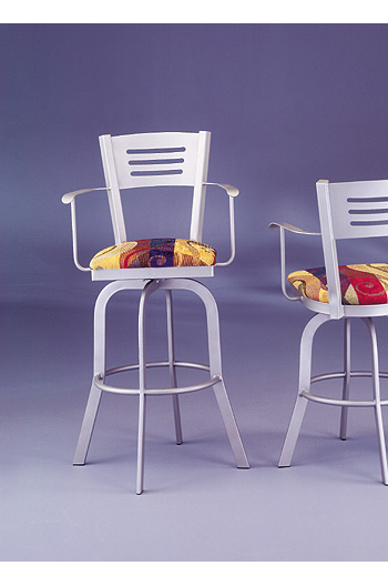 Slat Back Swivel Stool with Arms #2033 by Lisa Furniture