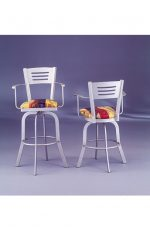 Slat Back Swivel Counter or Bar Stool with Arms #2033