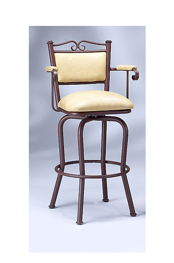 Traditional Swivel Stool with Padded Armrests and Scroll Back by Lisa Furniture
