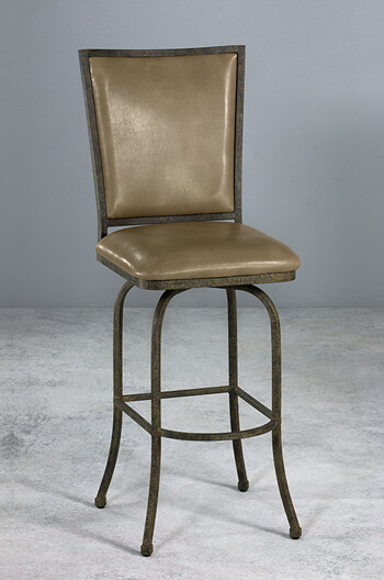 Morrison Upholstered Luxury Iron Swivel Counter Stool In