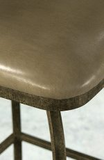 Morrison Swivel Stool with Antique Verde iron finish and Cantina Taupe leather
