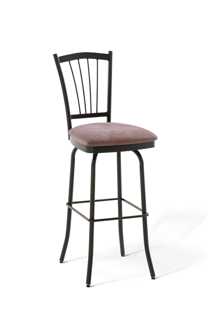 Amisco Naomi Swivel Stool with Vertical Slats on Back