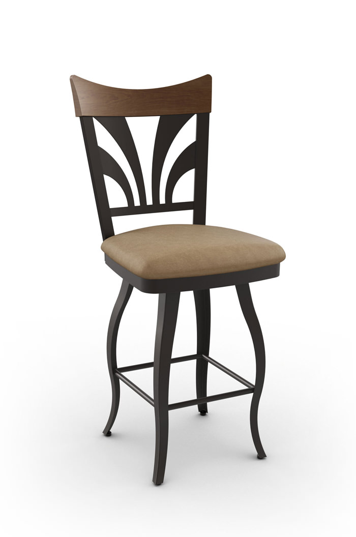 Amisco Peacock Swivel Stool with Cabriole Legs