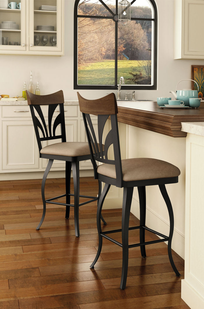 ... Amisco Peacock Swivel Stool In Traditional Kitchen