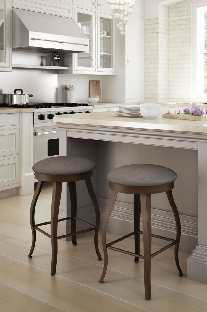 ... Amisco Pearl Backless Swivel Stool In Country Modern Kitchen
