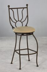 Wesley Allen's Sunburst Swivel Stool in Aged Rust metal finish and Tan seat cushion
