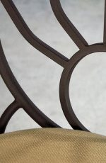 Sunburst Swivel Stool shown in Aged Rust metal finish and Loft Sand fabric