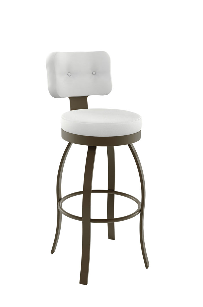 Amisco Swan Elegant Swivel Stool with Button-Tufted Backrest